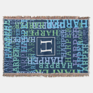 Monogram Name Cloud Blue Throw Blanket