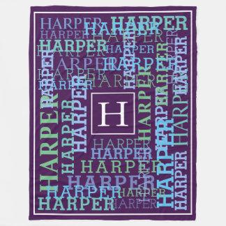 Monogram Name Cloud Purple Fleece Blanket