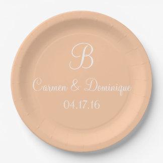 Monogram Name Date Deep Peach 9 Inch Paper Plate