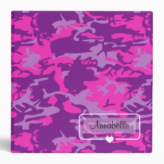 Monogram Name Design on Pink and Purple Camo Binders