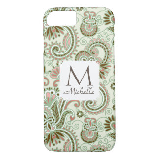 Monogram & Name East Indian Floral Green iPone 7 iPhone 8/7 Case