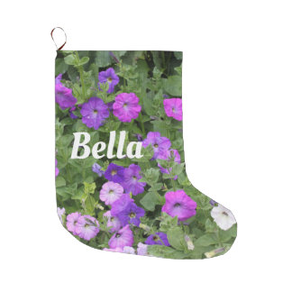 Monogram Name Girly Cute Flowers Purple Trendy Large Christmas Stocking