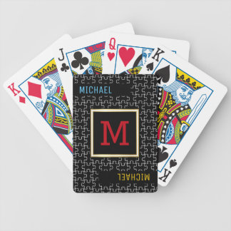 monogram / name & initial puzzle bicycle playing cards