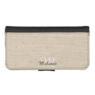 Monogram Name Linen iPhone Wallet Case