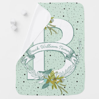 Monogram Name Minty Teal Garland Dalmatian Dots Baby Blanket