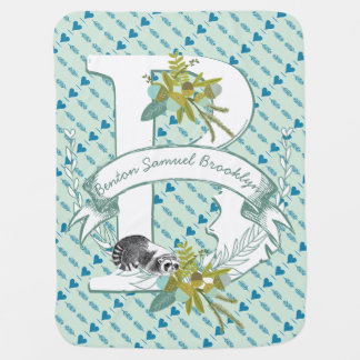 Monogram Name Minty Teal Garland Raccoon Acorns Baby Blanket