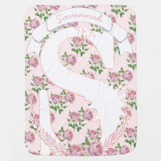 Monogram Name Peach Pink Garland Girly Rose Patten Baby Blanket