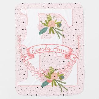 Monogram Name Peachy Pink Garland Dalmatian Dots Baby Blanket