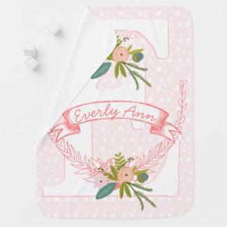 Monogram Name Peachy Pink Garland Lil' Lady Floral Baby Blankets