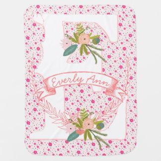 Monogram Name Peachy Pink Garland Stripes and Dots Baby Blanket