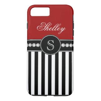Monogram Name Red Black Stripes Pattern iPhone 8 Plus/7 Plus Case