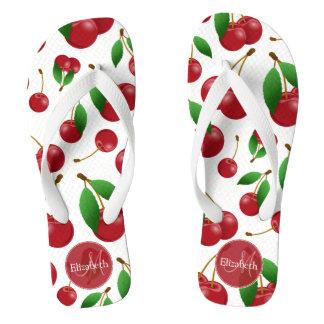 monogram name sweet red cherries patterned flip flops