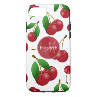 monogram name sweet red cherries patterned iPhone 8/7 case