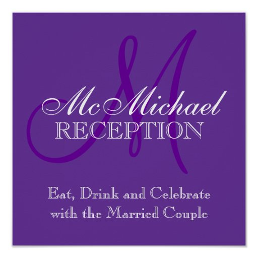 Monogram Name Wedding Reception Sign Purple Posters