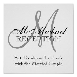 Monogram Name Wedding Reception Signs