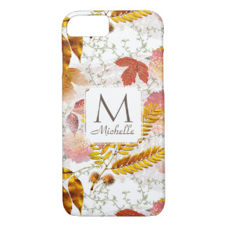 Monogram & Name with Fall Leaves & Vines iPone 7 Case-Mate iPhone Case