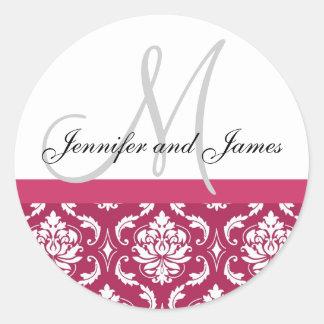 Monogram & Names Damask Hot PInk Wedding Sticker