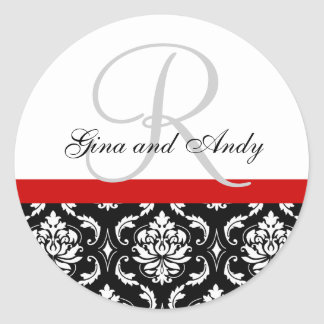 Monogram & Names Damask Red Wedding Sticker