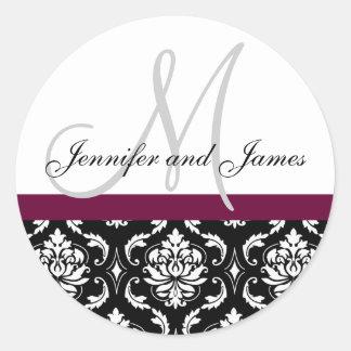 Monogram & Names Damask Wine Wedding Sticker