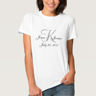 Monogram Names Save the Date Team Wedding T-Shirt