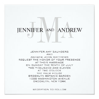 Monogram Names Wedding Invitations Black White