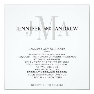Monogram Names Wedding Invitations Black White