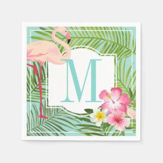 Monogram Napkins | Tropical Flamingo with Flowers Paper Napkins