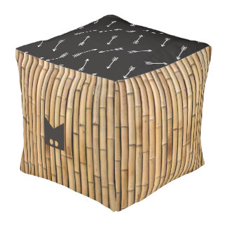 Monogram. Natural Bamboo & Decorative Arrow Boho. Pouf