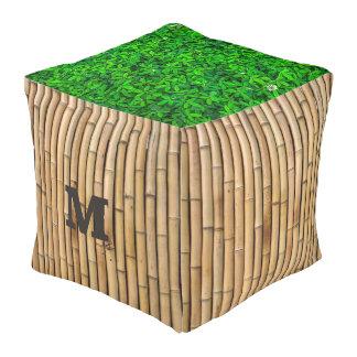 Monogram. Natural Bamboo & Greenery. Pouf