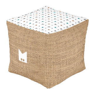 Monogram. Natural Burlap & Decorative Boho Pouf