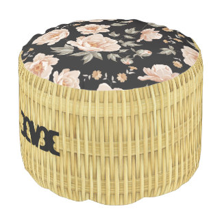 Monogram. Natural Floral Rattan Basket Weave. Pouf
