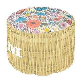 Monogram. Natural Floral Rattan Basket Weave. Pouf