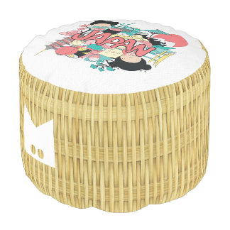 Monogram. Natural Rattan Basket Weave. Japan. Pouf
