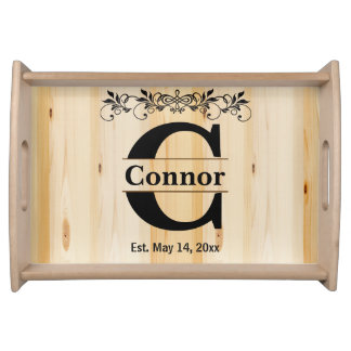 Monogram Natural Wood Design Serving Tray