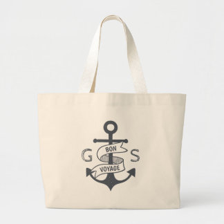 Monogram. Nautical. Anchor. Bon Voyage. Large Tote Bag