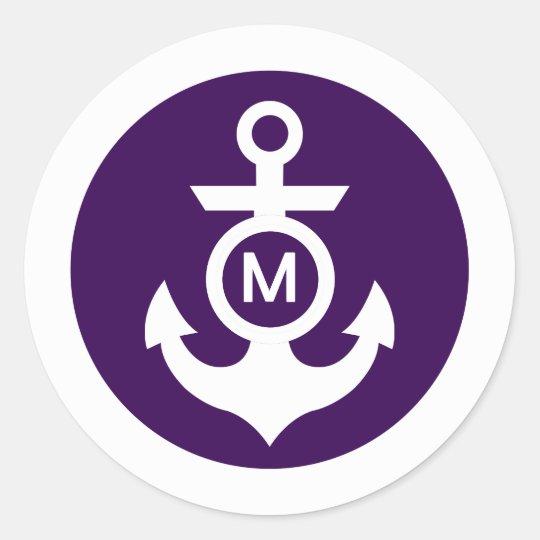 Monogram | Nautical Anchor Classic Round Sticker