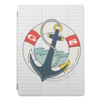 Monogram. Nautical Anchor Tattoo. iPad Pro Cover