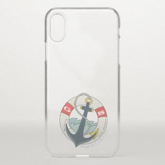 Monogram. Nautical Anchor Tattoo. iPhone X Case