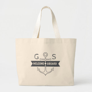 Monogram. Nautical. Anchor. Welcome Aboard. Large Tote Bag