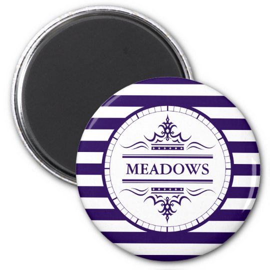 Monogram Nautical Classic Navy Blue Elegant Magnet