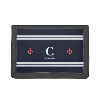 Monogram Nautical Navy Blue White Stripes Tri-fold Wallet