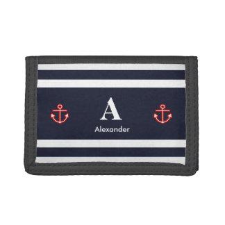Monogram Nautical Navy Blue White Stripes Trifold Wallet
