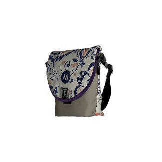 Monogram Navy and Peach Vintage Floral Pattern Courier Bag
