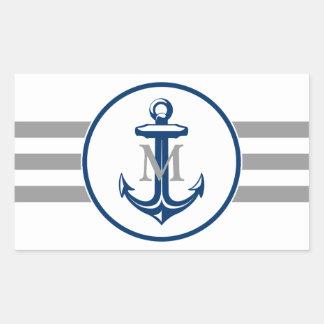 Monogram   Navy Blue Anchor Sticker