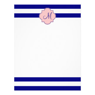 Monogram Navy Blue and Baby Pink Striped Pattern Letterhead