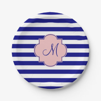 Monogram Navy Blue and Baby Pink Striped Pattern Paper Plate