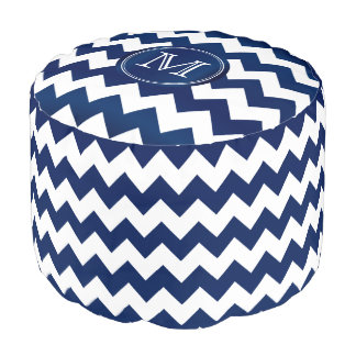 Monogram Navy Blue and White Chevron Stripes Pouf