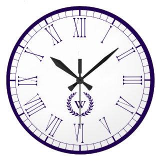 Monogram Navy Blue Classic Wall Clock