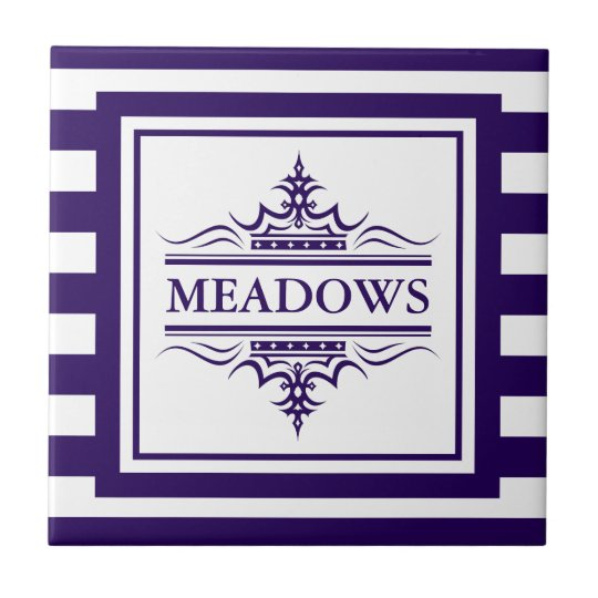 Monogram Navy Blue Elegant Nautical Ceramic Tile