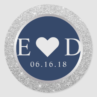 Monogram Navy Blue Elegant Silver Glitter Wedding Classic Round Sticker